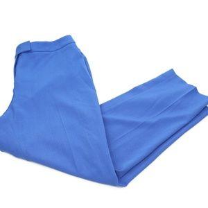 Anne Klein Blue Crepe Straight Leg Trousers